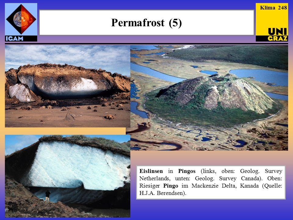 Permafrost (5) Klima 248 Eislinsen in Pingos (links, oben: Geolog.