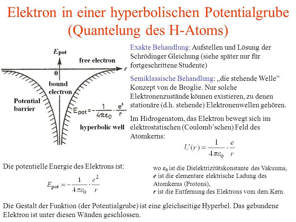 Elektron in einer hyperbolischen Potentialgrube (Quantelung des H-Atoms) Exakte Behandlung: Aufstellen und Lösung der Schrödinger Gleichung (siehe spä