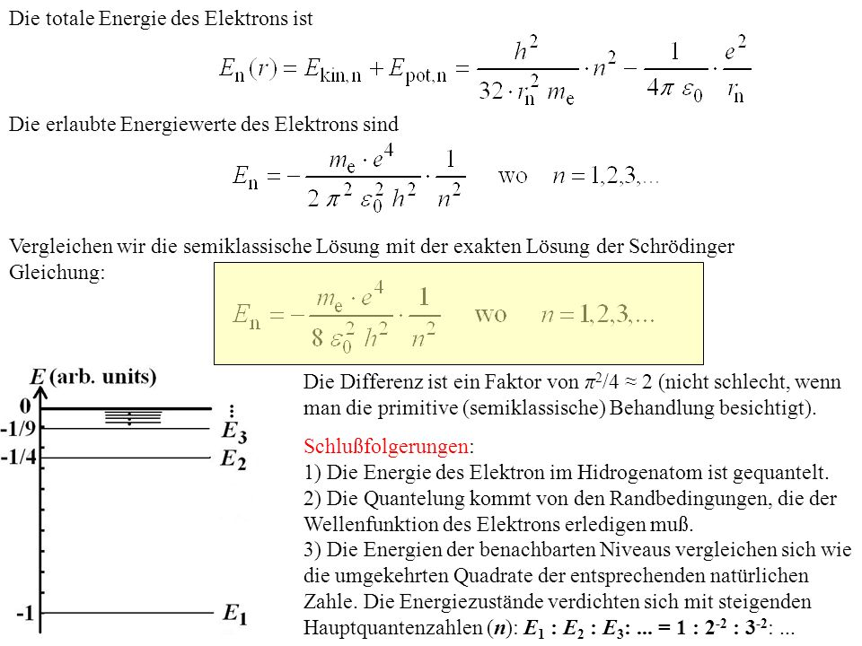 Die totale Energie des Elektrons ist Die erlaubte Energiewerte des Elektrons sind Vergleichen wir die semiklassische Lösung mit der exakten Lösung der
