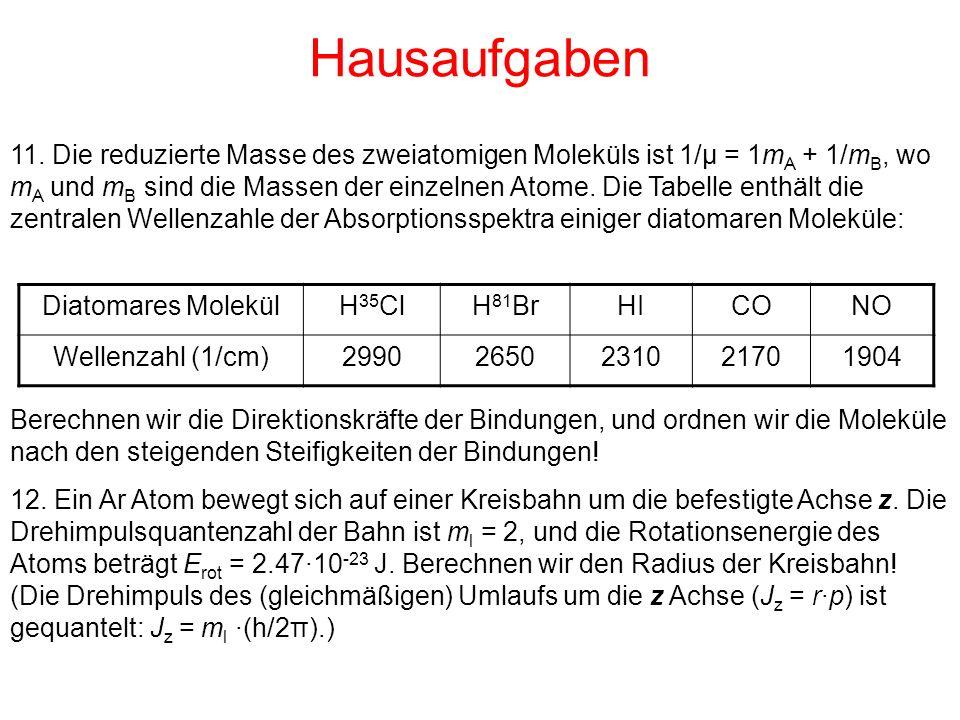 Hausaufgaben Diatomares MolekülH 35 ClH 81 BrHICONO Wellenzahl (1/cm)29902650231021701904 Berechnen wir die Direktionskräfte der Bindungen, und ordnen