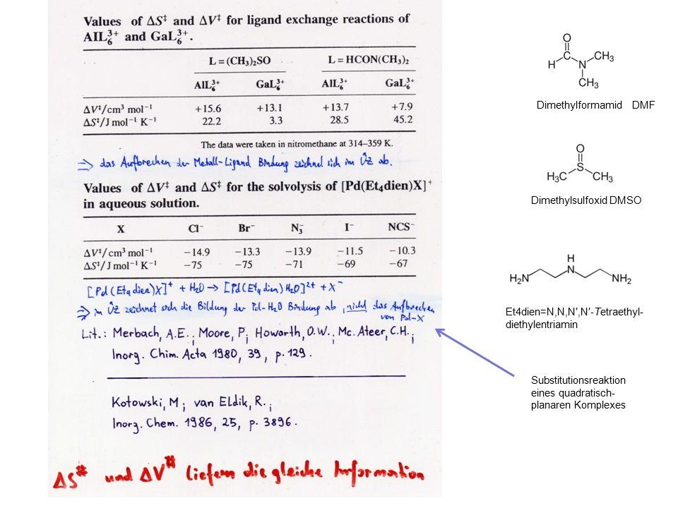 Dimethylformamid DMF Dimethylsulfoxid DMSO Et4dien=N,N,N′,N′ ‐ Tetraethyl- diethylentriamin Substitutionsreaktion eines quadratisch- planaren Komplexes