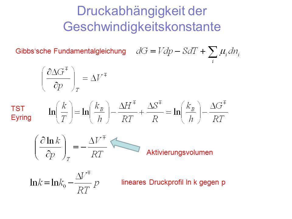 Druckabhängigkeit der Geschwindigkeitskonstante Gibbs'sche Fundamentalgleichung TST Eyring Aktivierungsvolumen lineares Druckprofil ln k gegen p