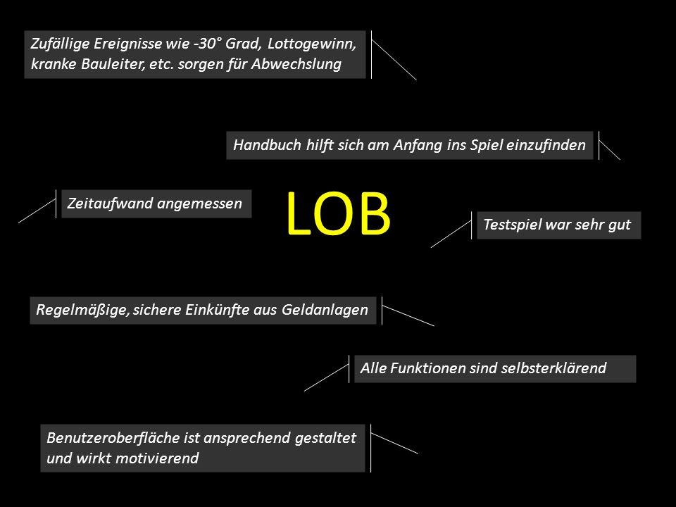 LOB Benutzeroberfläche ist ansprechend gestaltet und wirkt motivierend Zeitaufwand angemessen Alle Funktionen sind selbsterklärend Handbuch hilft sich