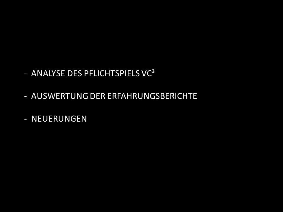 - ANALYSE DES PFLICHTSPIELS VC³ - AUSWERTUNG DER ERFAHRUNGSBERICHTE - NEUERUNGEN
