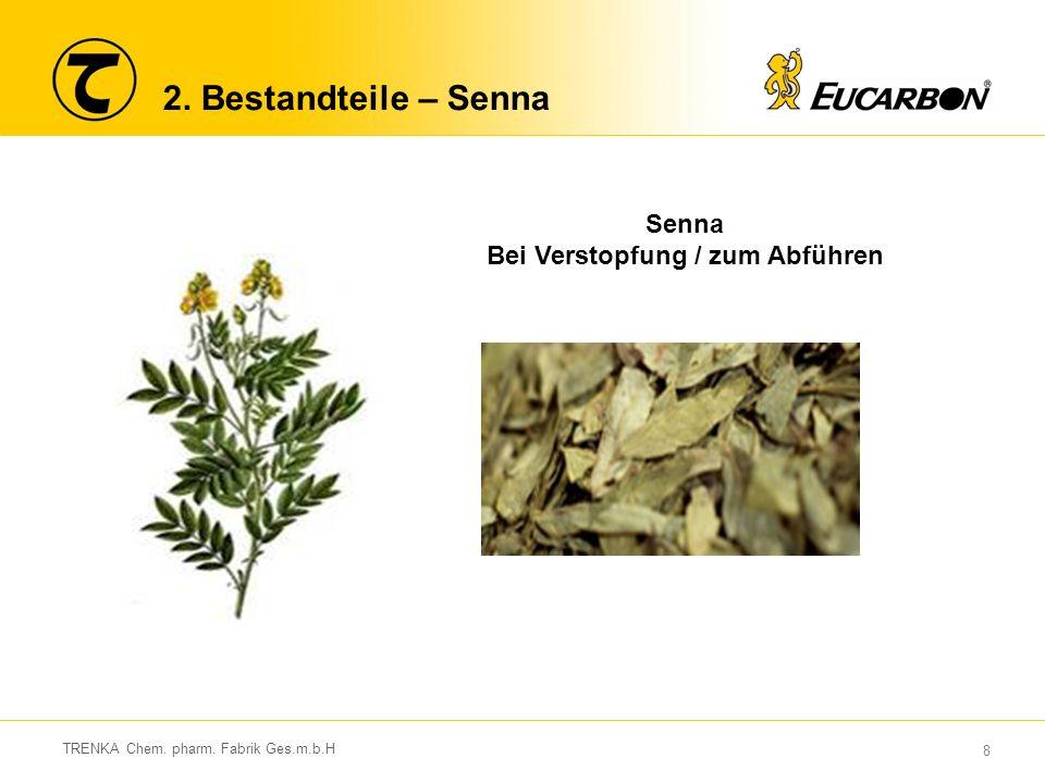 8 TRENKA Chem. pharm. Fabrik Ges.m.b.H 2. Bestandteile – Senna Senna Bei Verstopfung / zum Abführen