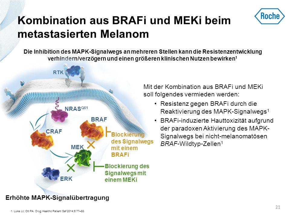 Kombination aus BRAFi und MEKi beim metastasierten Melanom Mit der Kombination aus BRAFi und MEKi soll folgendes vermieden werden: Resistenz gegen BRA