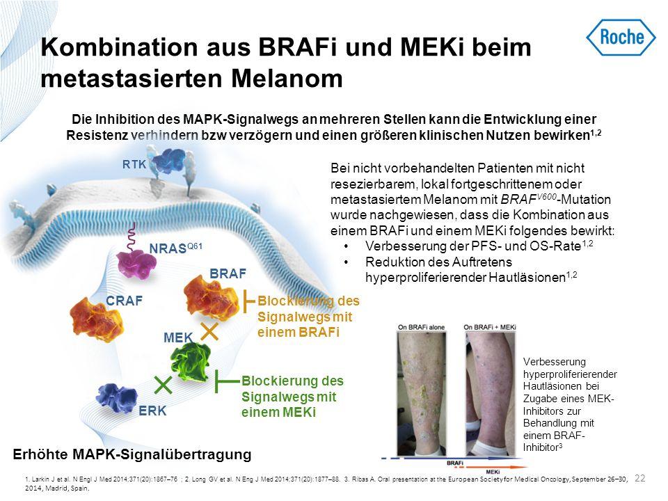 Kombination aus BRAFi und MEKi beim metastasierten Melanom 1. Larkin J et al. N Engl J Med 2014;371(20):1867–76 ; 2. Long GV et al. N Eng J Med 2014;3