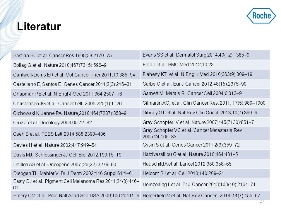 Literatur 27 Bastian BC et al. Cancer Res 1998;58:2170–75 Evans SS et al. Dermatol Surg 2014;40(12):1385–9 Bollag G et al. Nature 2010;467(7315):596–9