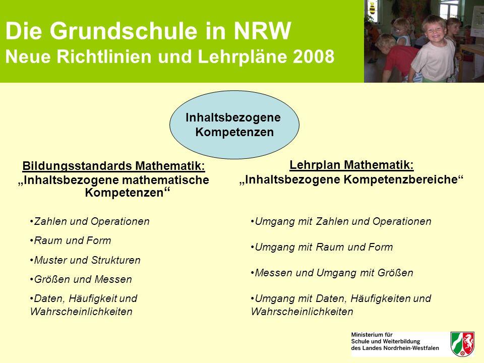 """Die Grundschule in NRW Neue Richtlinien und Lehrpläne 2008 Bildungsstandards Mathematik: """"Inhaltsbezogene mathematische Kompetenzen """" Inhaltsbezogene"""