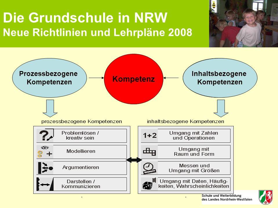 Die Grundschule in NRW Neue Richtlinien und Lehrpläne 2008 Kompetenz Inhaltsbezogene Kompetenzen Prozessbezogene Kompetenzen