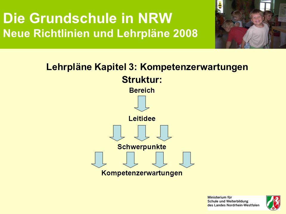 Die Grundschule in NRW Neue Richtlinien und Lehrpläne 2008 Lehrpläne Kapitel 3: Kompetenzerwartungen Struktur: Bereich Leitidee Schwerpunkte Kompetenz