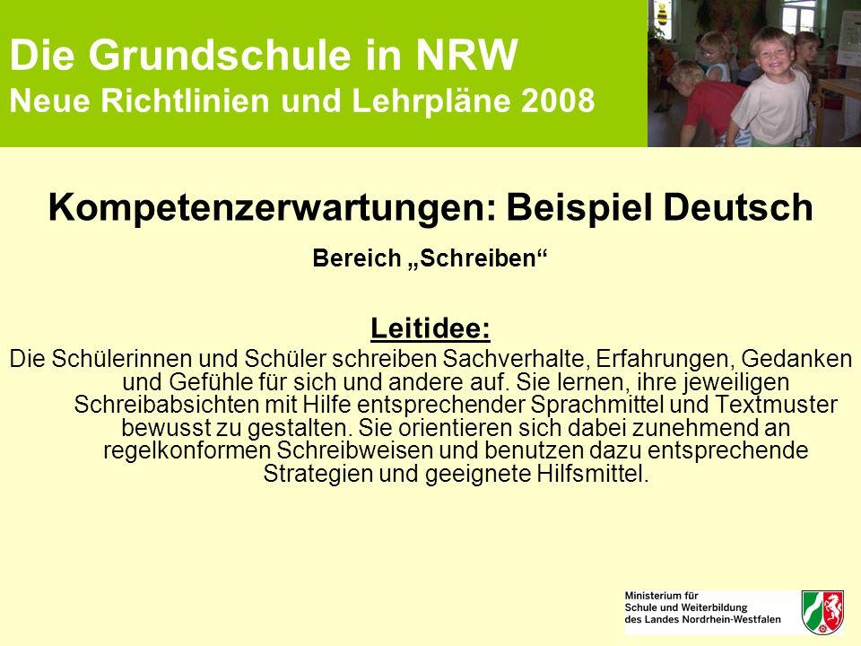 """Die Grundschule in NRW Neue Richtlinien und Lehrpläne 2008 Kompetenzerwartungen: Beispiel Deutsch Bereich """"Schreiben"""" Leitidee: Die Schülerinnen und S"""