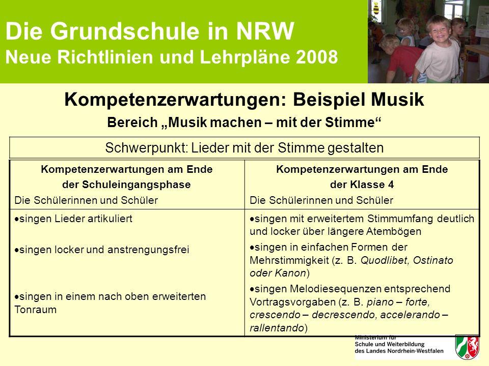 """Die Grundschule in NRW Neue Richtlinien und Lehrpläne 2008 Kompetenzerwartungen: Beispiel Musik Bereich """"Musik machen – mit der Stimme"""" Kompetenzerwar"""