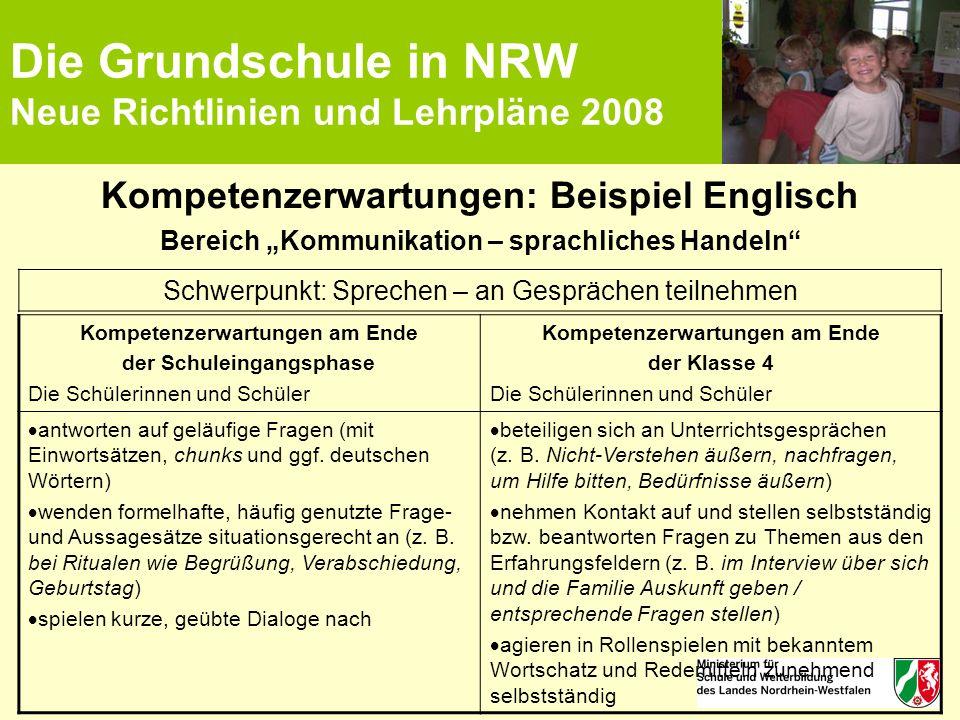 """Die Grundschule in NRW Neue Richtlinien und Lehrpläne 2008 Kompetenzerwartungen: Beispiel Englisch Bereich """"Kommunikation – sprachliches Handeln"""" Komp"""