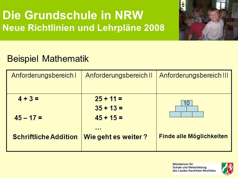 Die Grundschule in NRW Neue Richtlinien und Lehrpläne 2008 Beispiel Mathematik Anforderungsbereich IAnforderungsbereich IIAnforderungsbereich III 4 +