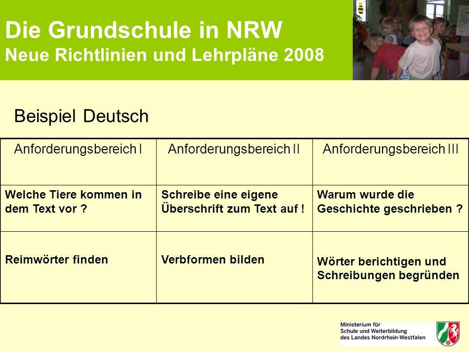 Die Grundschule in NRW Neue Richtlinien und Lehrpläne 2008 Beispiel Deutsch Anforderungsbereich IAnforderungsbereich IIAnforderungsbereich III Welche