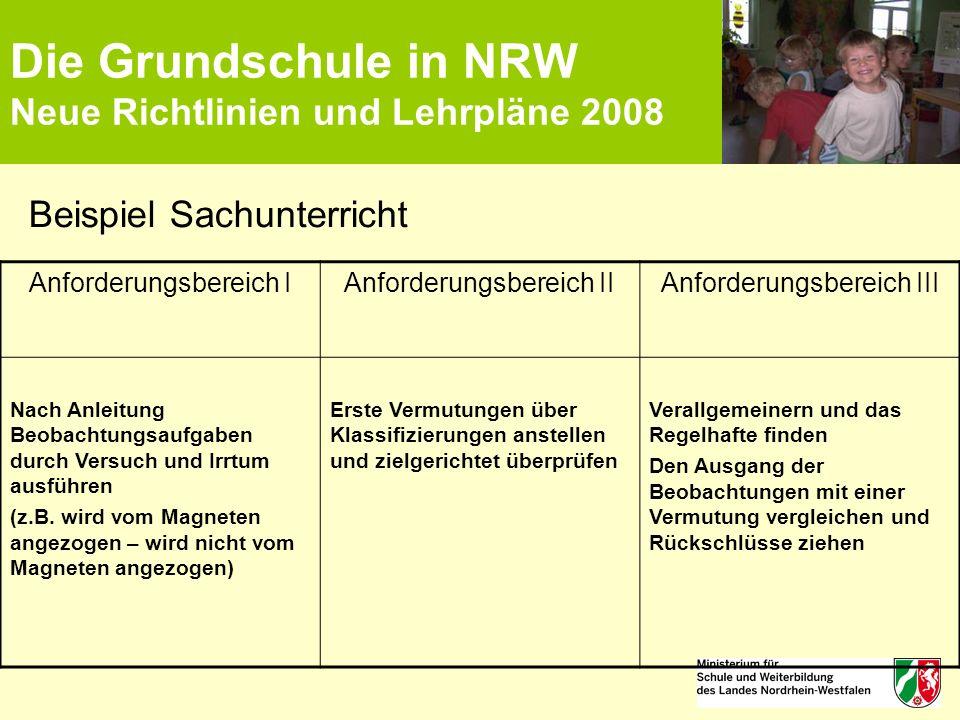 Die Grundschule in NRW Neue Richtlinien und Lehrpläne 2008 Beispiel Sachunterricht Anforderungsbereich IAnforderungsbereich IIAnforderungsbereich III