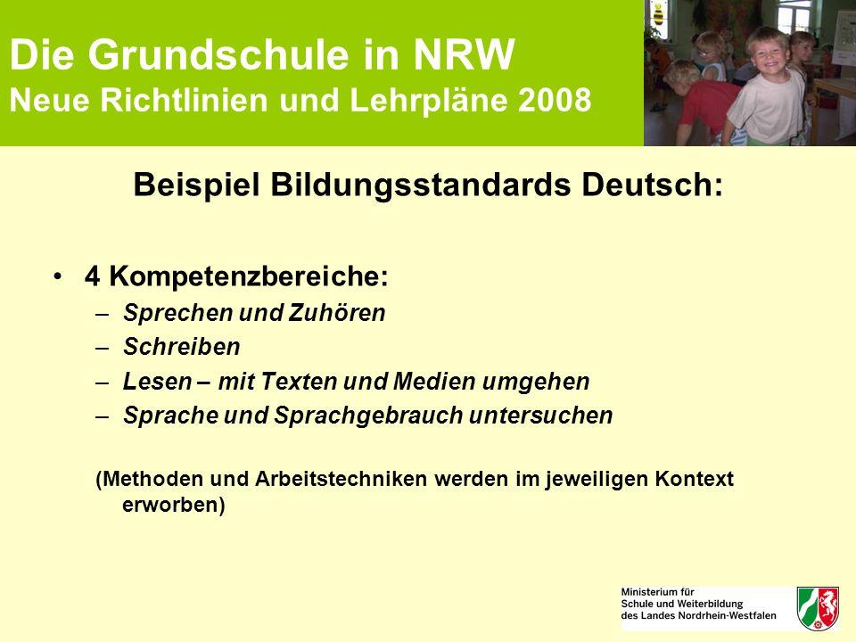 Die Grundschule in NRW Neue Richtlinien und Lehrpläne 2008 Beispiel Bildungsstandards Deutsch: 4 Kompetenzbereiche: –Sprechen und Zuhören –Schreiben –
