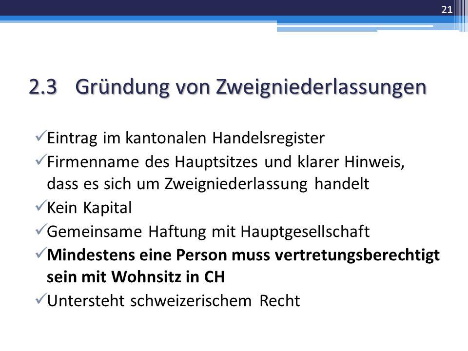 2.3Gründung von Zweigniederlassungen Eintrag im kantonalen Handelsregister Firmenname des Hauptsitzes und klarer Hinweis, dass es sich um Zweigniederlassung handelt Kein Kapital Gemeinsame Haftung mit Hauptgesellschaft Mindestens eine Person muss vertretungsberechtigt sein mit Wohnsitz in CH Untersteht schweizerischem Recht 21