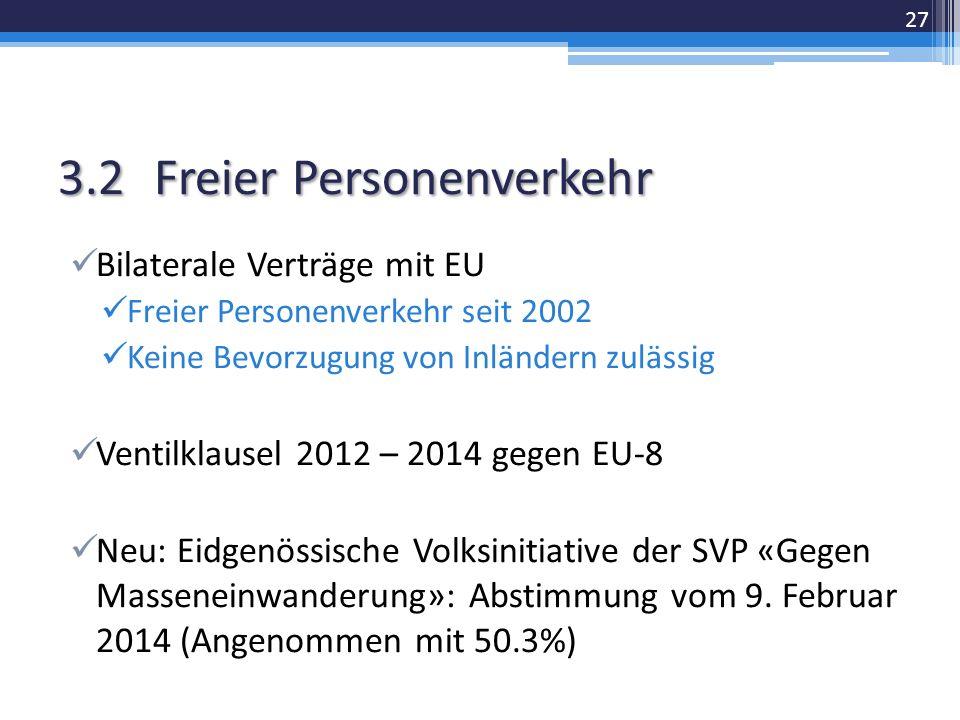 3.2Freier Personenverkehr Bilaterale Verträge mit EU Freier Personenverkehr seit 2002 Keine Bevorzugung von Inländern zulässig Ventilklausel 2012 – 2014 gegen EU-8 Neu: Eidgenössische Volksinitiative der SVP «Gegen Masseneinwanderung»: Abstimmung vom 9.