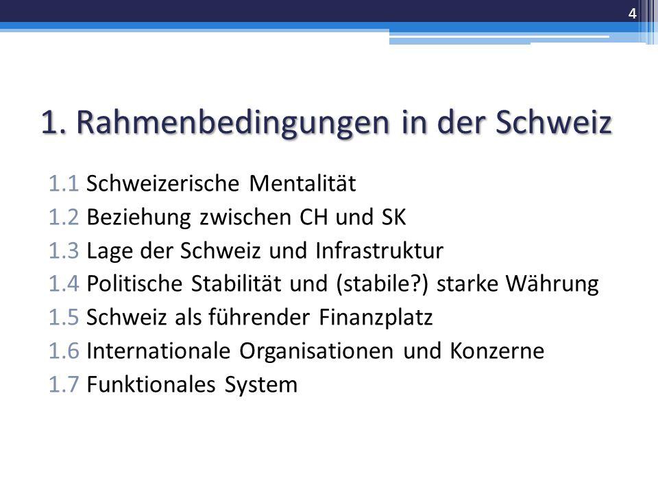 1. Rahmenbedingungen in der Schweiz 1.1 Schweizerische Mentalität 1.2 Beziehung zwischen CH und SK 1.3 Lage der Schweiz und Infrastruktur 1.4 Politisc
