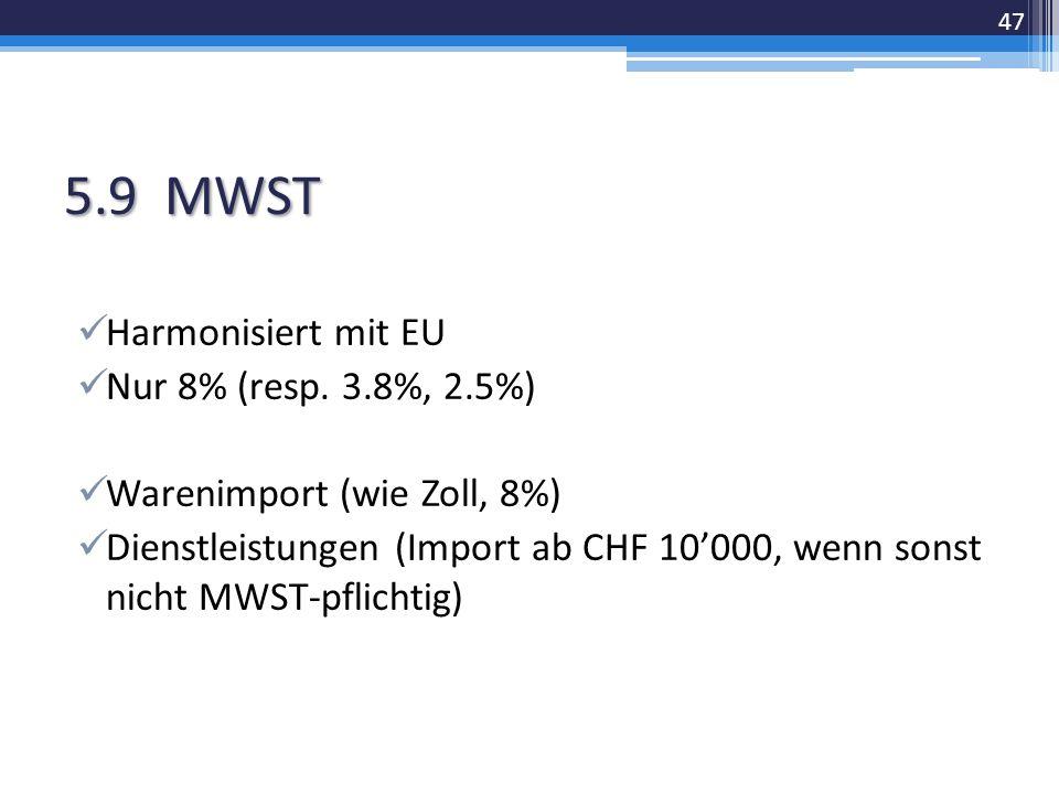 5.9 MWST Harmonisiert mit EU Nur 8% (resp.