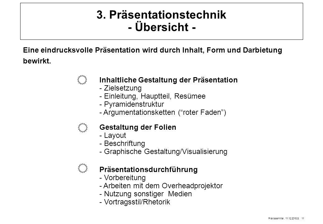 Praxisseminar, 11.12.2015,S. 11 3. Präsentationstechnik - Übersicht - Eine eindrucksvolle Präsentation wird durch Inhalt, Form und Darbietung bewirkt.
