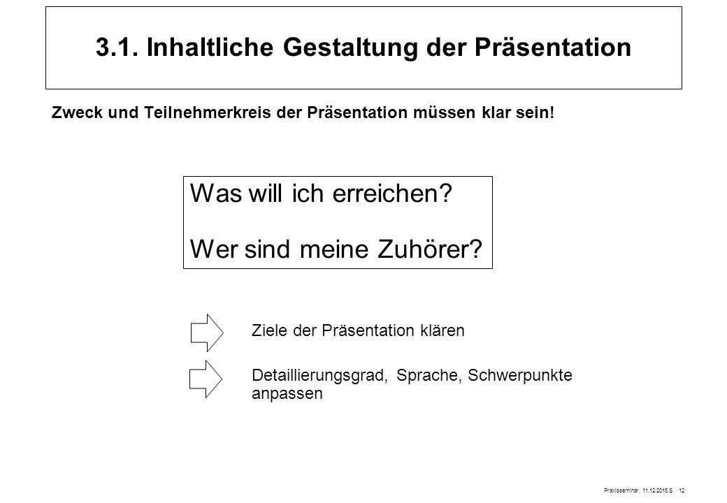 Praxisseminar, 11.12.2015,S. 12 3.1. Inhaltliche Gestaltung der Präsentation Zweck und Teilnehmerkreis der Präsentation müssen klar sein! Was will ich