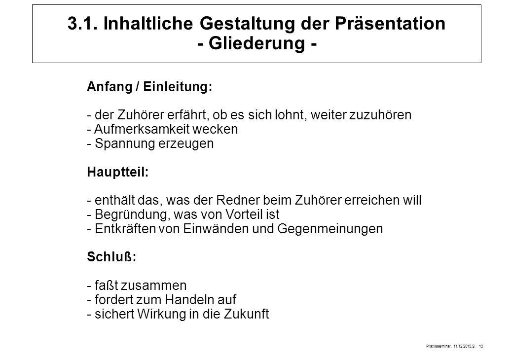 Praxisseminar, 11.12.2015,S. 13 3.1. Inhaltliche Gestaltung der Präsentation - Gliederung - Anfang / Einleitung: - der Zuhörer erfährt, ob es sich loh