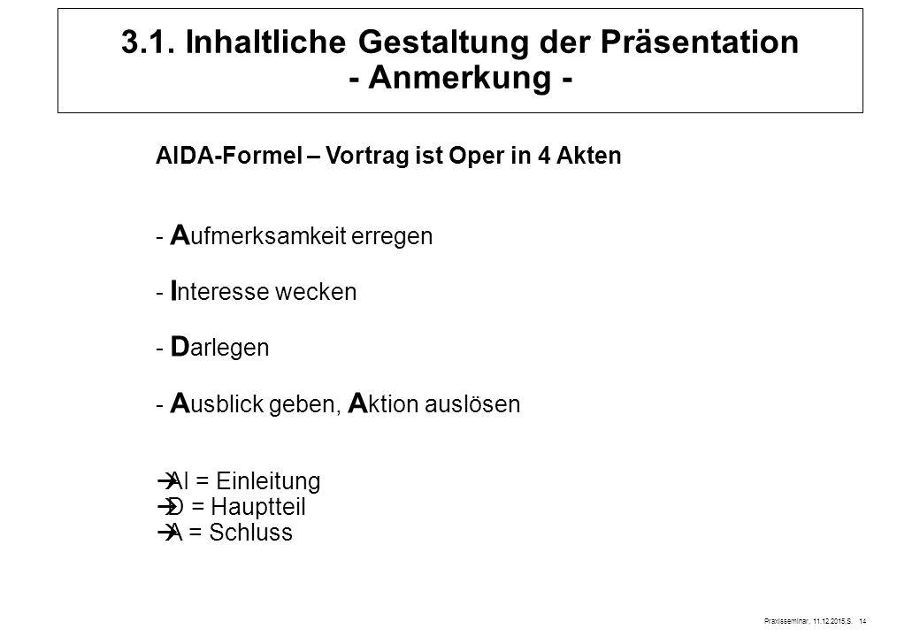 Praxisseminar, 11.12.2015,S. 14 3.1. Inhaltliche Gestaltung der Präsentation - Anmerkung - AIDA-Formel – Vortrag ist Oper in 4 Akten - A ufmerksamkeit