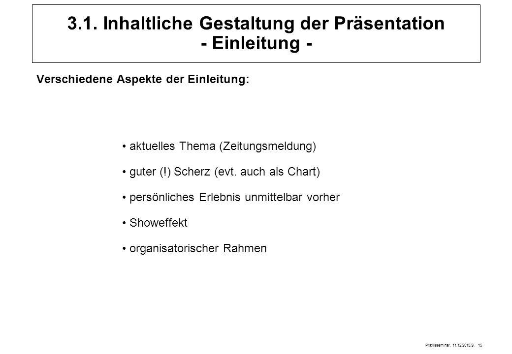 Praxisseminar, 11.12.2015,S. 15 3.1. Inhaltliche Gestaltung der Präsentation - Einleitung - Verschiedene Aspekte der Einleitung: aktuelles Thema (Zeit