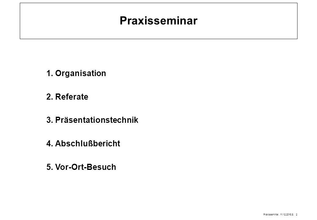 Praxisseminar, 11.12.2015,S.2 Praxisseminar 1. Organisation 2.