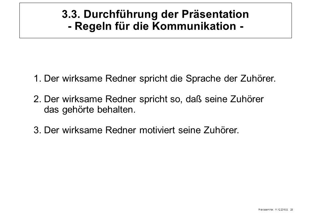 Praxisseminar, 11.12.2015,S. 25 3.3. Durchführung der Präsentation - Regeln für die Kommunikation - 1. Der wirksame Redner spricht die Sprache der Zuh