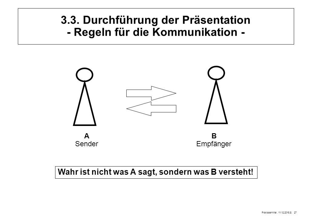 Praxisseminar, 11.12.2015,S. 27 A Sender B Empfänger Wahr ist nicht was A sagt, sondern was B versteht! 3.3. Durchführung der Präsentation - Regeln fü