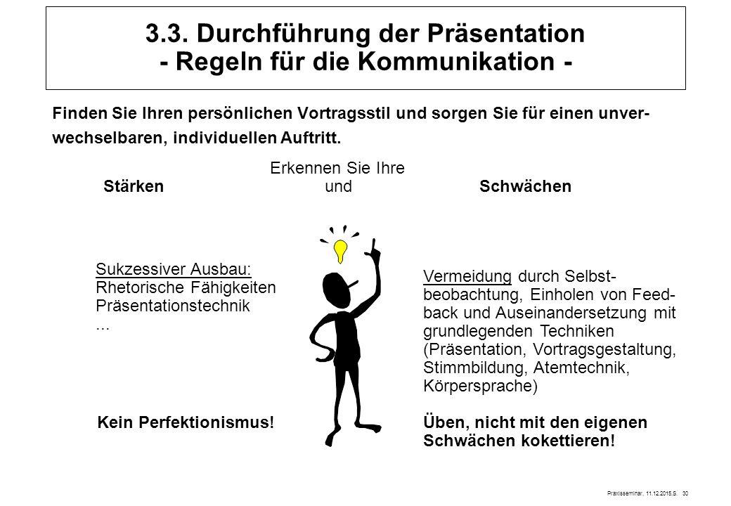 Praxisseminar, 11.12.2015,S. 30 3.3. Durchführung der Präsentation - Regeln für die Kommunikation - Finden Sie Ihren persönlichen Vortragsstil und sor