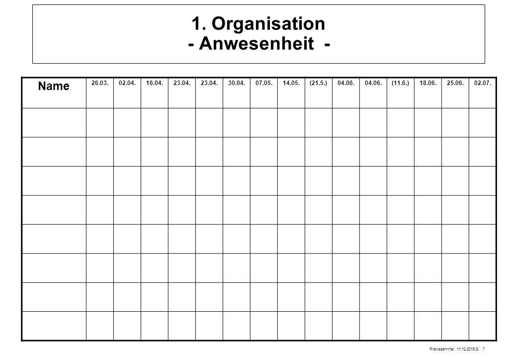 Praxisseminar, 11.12.2015,S.7 1. Organisation - Anwesenheit - Name 26.03.02.04.16.04.23.04.