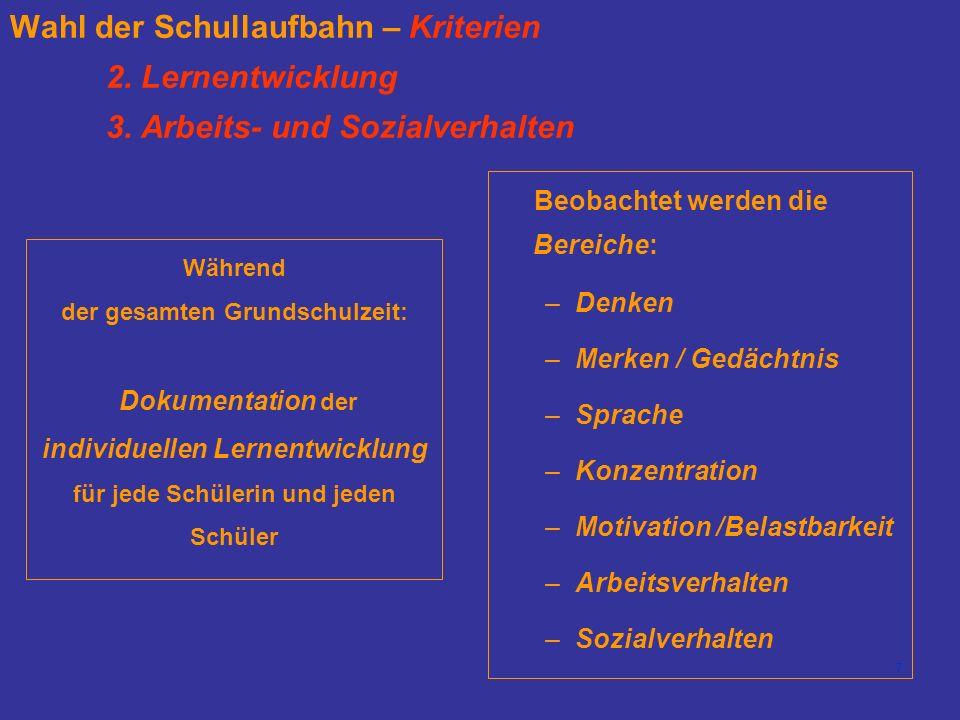 7 Wahl der Schullaufbahn – Kriterien 2. Lernentwicklung 3.