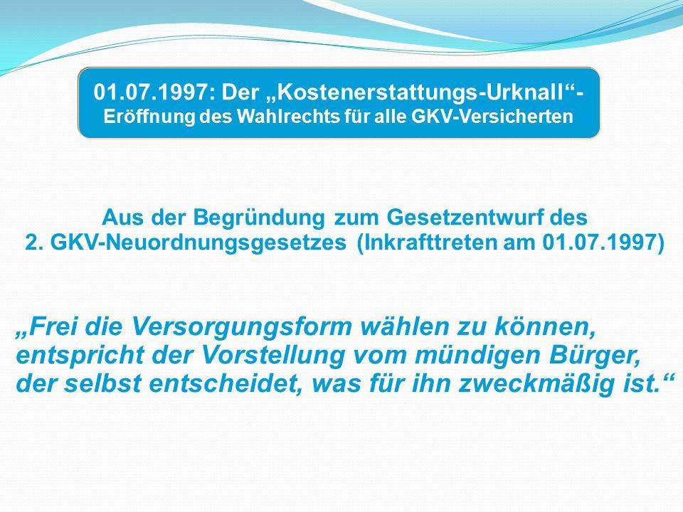 """Aus der Begründung zum Gesetzentwurf des 2. GKV-Neuordnungsgesetzes (Inkrafttreten am 01.07.1997) """"Frei die Versorgungsform wählen zu können, entspric"""