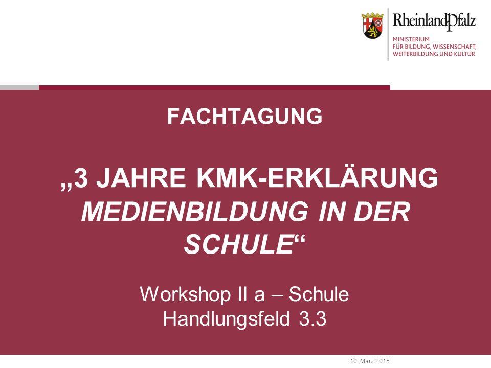 """10. März 2015 FACHTAGUNG """"3 JAHRE KMK-ERKLÄRUNG MEDIENBILDUNG IN DER SCHULE"""" Workshop II a – Schule Handlungsfeld 3.3"""