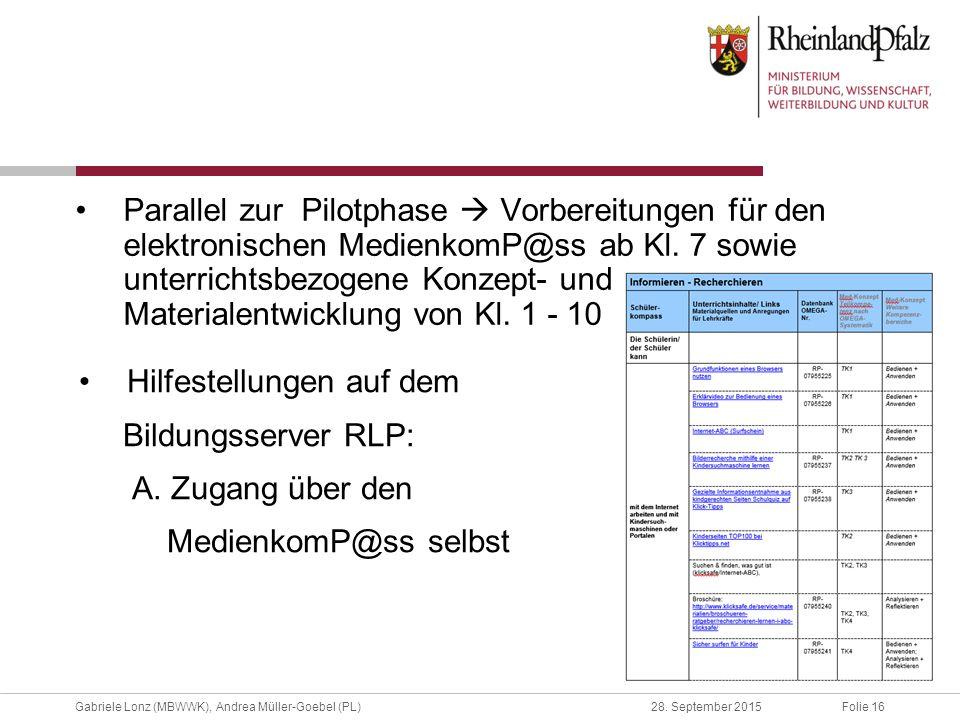 Folie 16Gabriele Lonz (MBWWK), Andrea Müller-Goebel (PL)28. September 2015 Parallel zur Pilotphase  Vorbereitungen für den elektronischen MedienkomP@