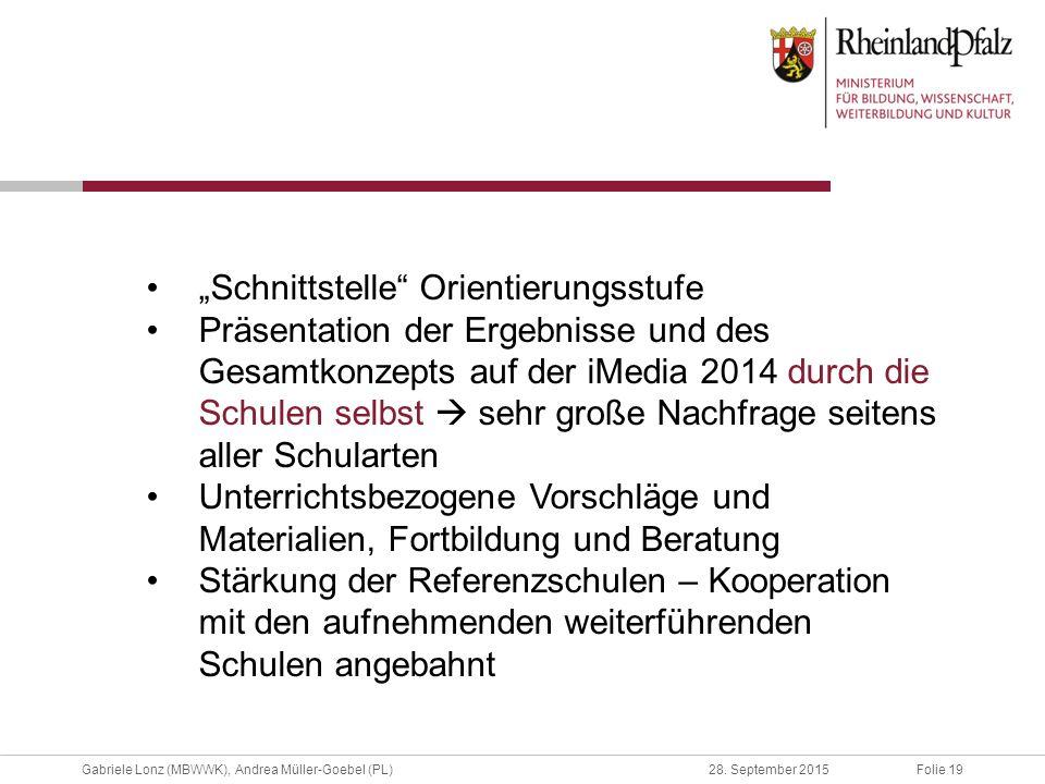 """Folie 19Gabriele Lonz (MBWWK), Andrea Müller-Goebel (PL)28. September 2015 """"Schnittstelle"""" Orientierungsstufe Präsentation der Ergebnisse und des Gesa"""