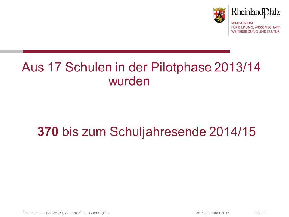 Folie 21Gabriele Lonz (MBWWK), Andrea Müller-Goebel (PL)28. September 2015 Aus 17 Schulen in der Pilotphase 2013/14 wurden 370 bis zum Schuljahresende