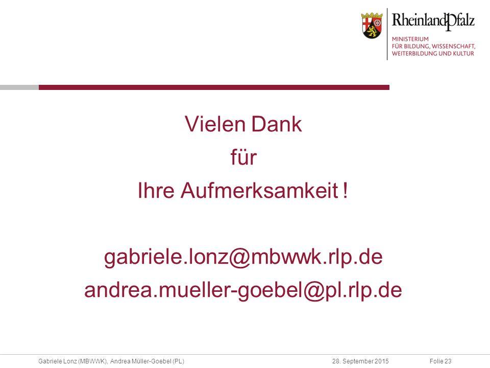 Folie 23Gabriele Lonz (MBWWK), Andrea Müller-Goebel (PL)28. September 2015 Vielen Dank für Ihre Aufmerksamkeit ! gabriele.lonz@mbwwk.rlp.de andrea.mue