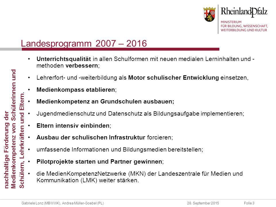 Folie 3Gabriele Lonz (MBWWK), Andrea Müller-Goebel (PL)28. September 2015 Landesprogramm 2007 – 2016 Unterrichtsqualität in allen Schulformen mit neue