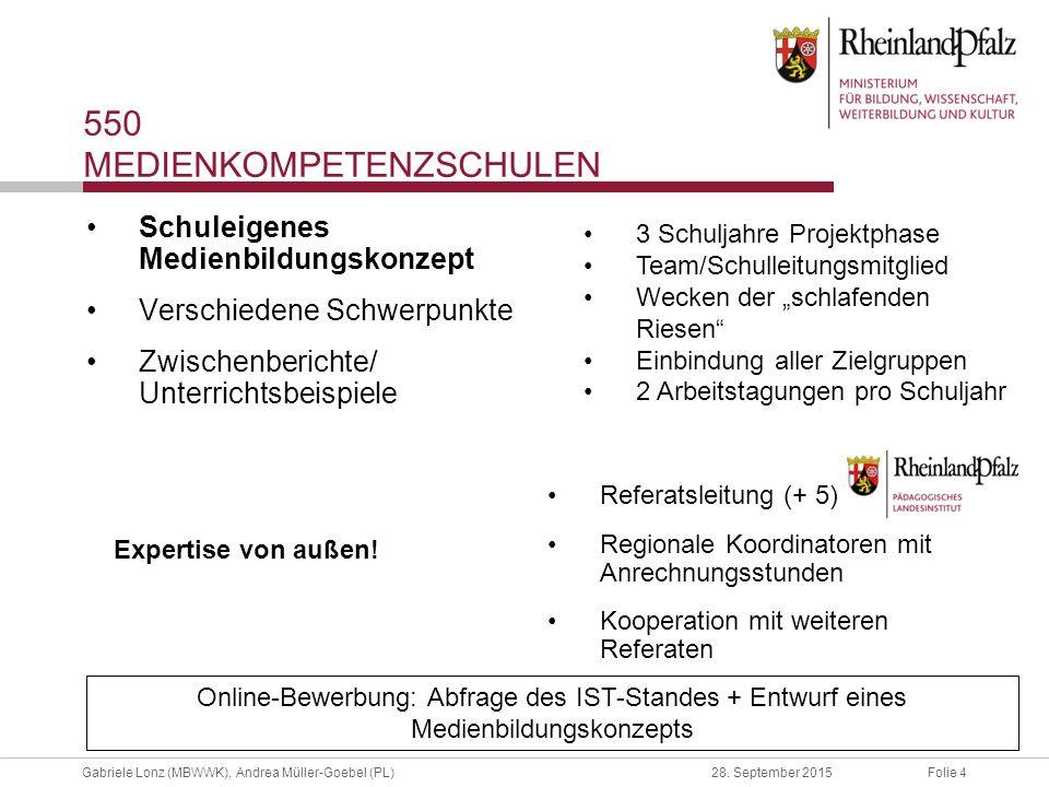 Folie 4Gabriele Lonz (MBWWK), Andrea Müller-Goebel (PL)28. September 2015 Schuleigenes Medienbildungskonzept Verschiedene Schwerpunkte Zwischenbericht