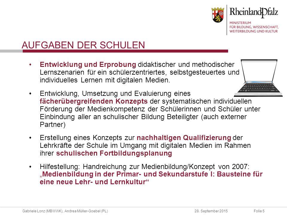 Folie 5Gabriele Lonz (MBWWK), Andrea Müller-Goebel (PL)28. September 2015 AUFGABEN DER SCHULEN Entwicklung und Erprobung didaktischer und methodischer