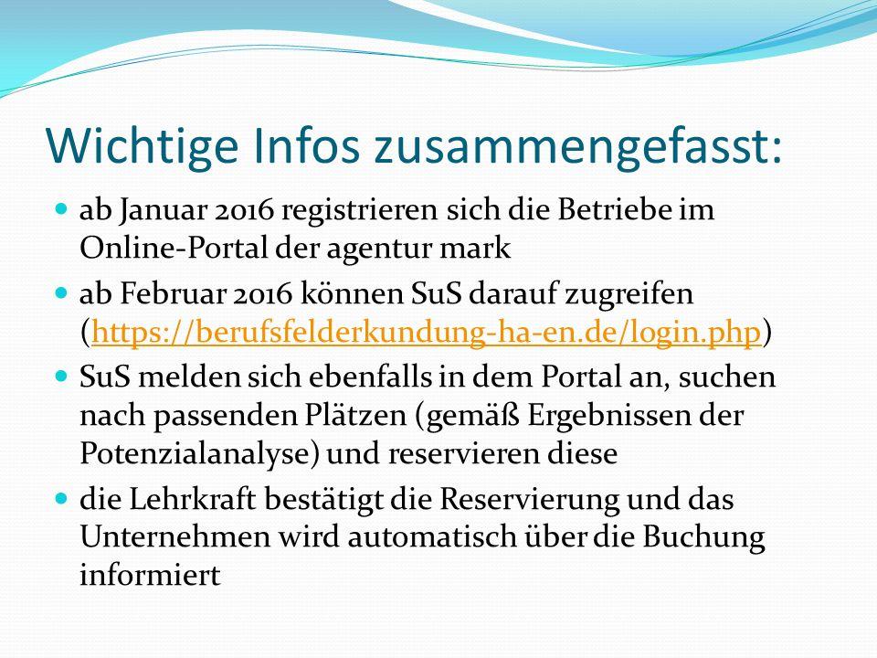 Wichtige Infos zusammengefasst: ab Januar 2016 registrieren sich die Betriebe im Online-Portal der agentur mark ab Februar 2016 können SuS darauf zugreifen (https://berufsfelderkundung-ha-en.de/login.php)https://berufsfelderkundung-ha-en.de/login.php SuS melden sich ebenfalls in dem Portal an, suchen nach passenden Plätzen (gemäß Ergebnissen der Potenzialanalyse) und reservieren diese die Lehrkraft bestätigt die Reservierung und das Unternehmen wird automatisch über die Buchung informiert