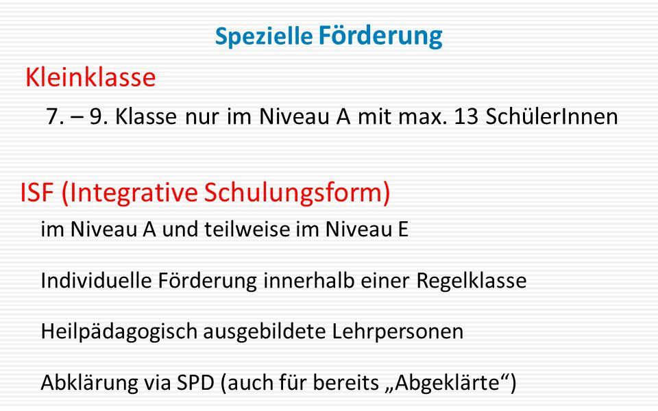 """Spezielle Förderung im Niveau A und teilweise im Niveau E Individuelle Förderung innerhalb einer Regelklasse Heilpädagogisch ausgebildete Lehrpersonen Abklärung via SPD (auch für bereits """"Abgeklärte ) 7."""