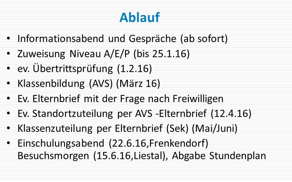 Informationsabend und Gespräche (ab sofort) Zuweisung Niveau A/E/P (bis 25.1.16) ev.