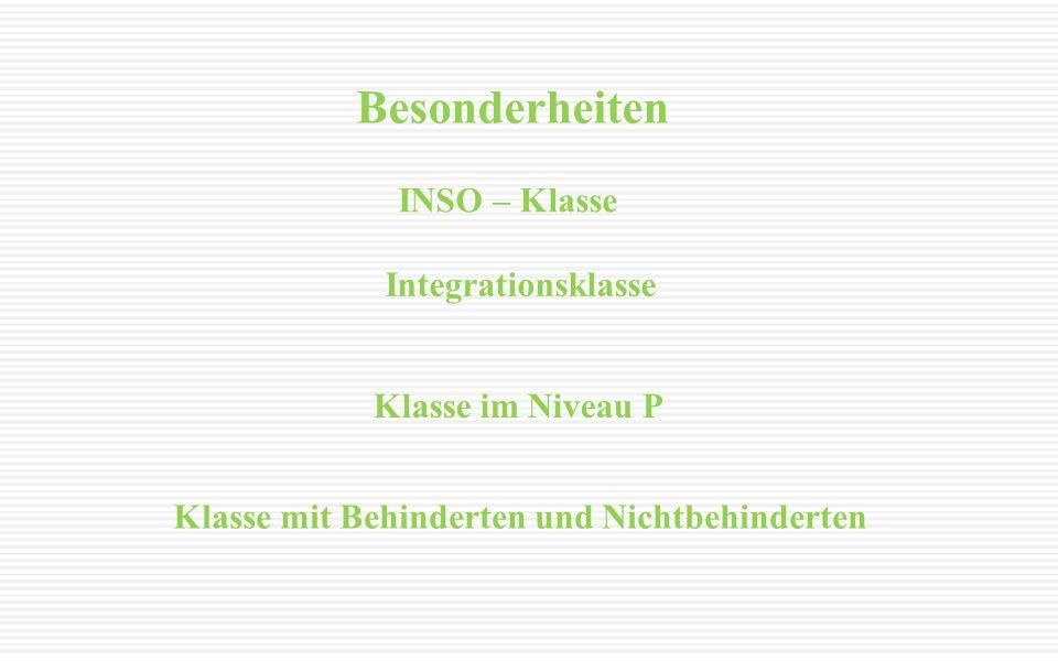 Besonderheiten INSO – Klasse Klasse im Niveau P Integrationsklasse Klasse mit Behinderten und Nichtbehinderten